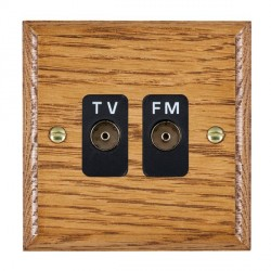 Hamilton Woods Ovolo Medium Oak 2 Gang Isolated TV/FM 1 in/2 out Outlet with Black Insert