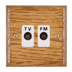 Hamilton Woods Ovolo Medium Oak 2 Gang Isolated TV/FM 1 in/2 out Outlet with White Insert