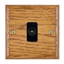 Hamilton Woods Ovolo Medium Oak 1 Gang Isolated TV 1 in/1 out Outlet with Black Insert
