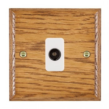 Hamilton Woods Ovolo Medium Oak 1 Gang Isolated TV 1 in/1 out Outlet with White Insert