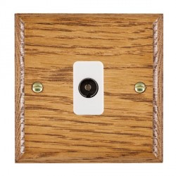 Hamilton Woods Ovolo Medium Oak 1 Gang Non Isolated TV 1 in/1 Out Outlet with White Insert