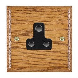 Hamilton Woods Ovolo Medium Oak 1 Gang 5A Unswitched Socket with Black Insert