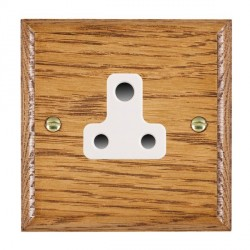 Hamilton Woods Ovolo Medium Oak 1 Gang 5A Unswitched Socket with White Insert