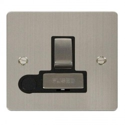 Click Define Stainless Steel Flat Plate Ingot 13A Switched Connection Unit and Flex Outlet with Black Insert