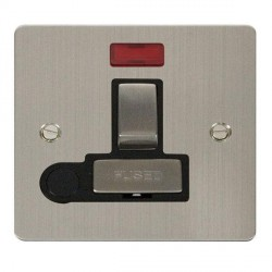 Click Define Stainless Steel Flat Plate Ingot 13A Switched Connection Unit and Flex Outlet with Neon with Black Insert