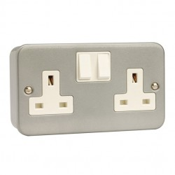 Click Metal Clad 13 Amp 2 Gang Double Pole Switched Socket