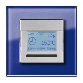 Heat Mat 16amp 3600W Programmable Underfloor Heating Thermostat - Silver with Blue Surround