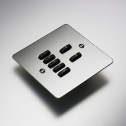 Rako Controls Wired 7 Button Flat Cover Plate Kit Mirror Stainless Steel