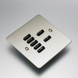 Rako Controls Wired 7 Button Flat Cover Plate Kit Stainless Steel