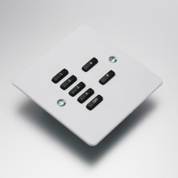 Rako Controls Wired 7 Button Flat Cover Plate Kit White Plastic