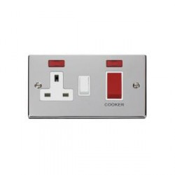 Click Deco Victorian Polished Chrome 45A Double Pole Switch and 13A Switched Socket with Neons (2) with W...