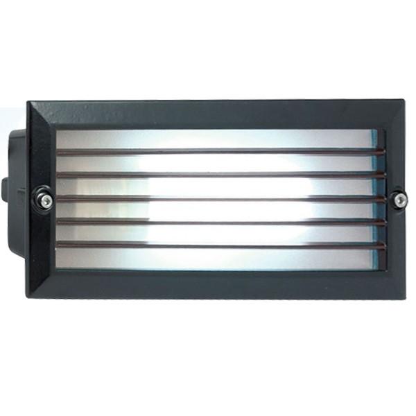 Aurora Lighting 240V Cast Aluminium IP44 Rectangular White LED Recessed Wall Light Black at UK ...