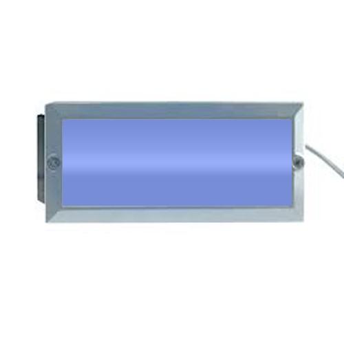 Aurora Lighting 240V Cast Aluminium IP44 Rectangular Blue LED Recessed Wall Light Satin Silver ...