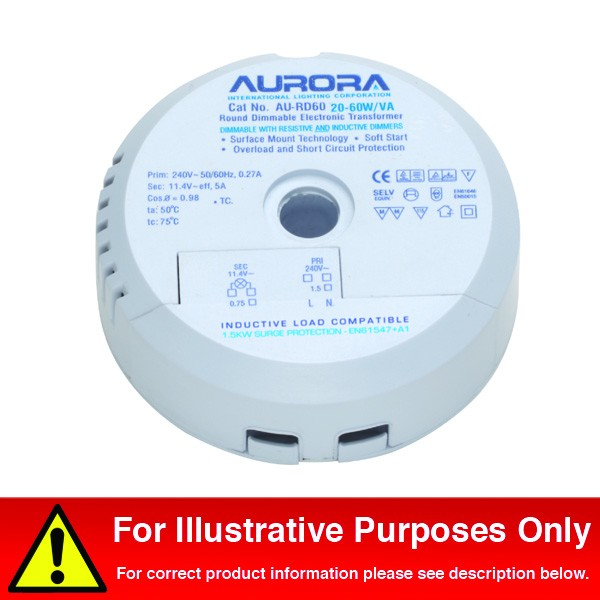 Aurora AU-RD105 35-105W//VA Round Dimmable Electronic Lighting Transformer