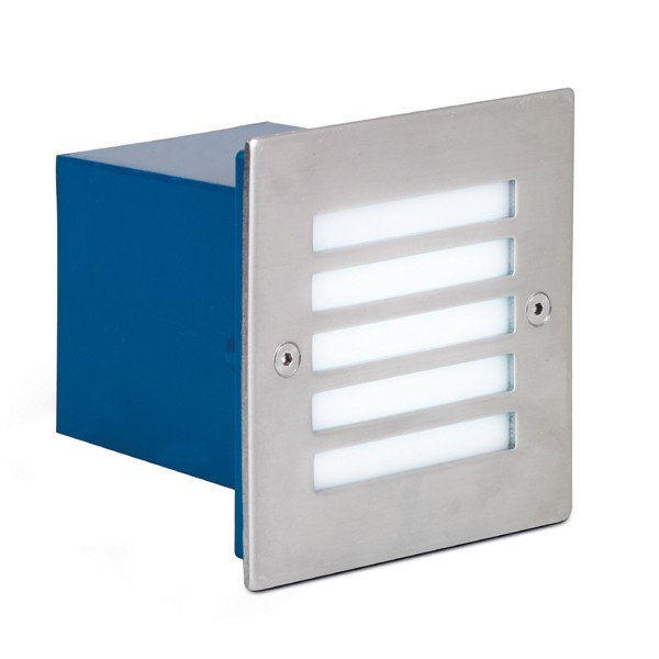 Aurora Lighting 240V Stainless Steel IP54 Square LED Recessed Wall Light Whit