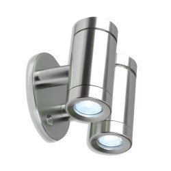 Aurora Lighting 12V DC Aluminium IP44 Fixed Twin Up/Down LED Wall Light at UK Electrical Supplies.