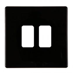 Hamilton Hartland CFX Black 2 Gang Concealed Fix Grid Fix Aperture Plate with Grid