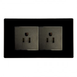 Hamilton Hartland CFX Black 2g 15A 127V American Unswitched Socket with Black Insert