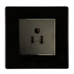 Hamilton Hartland CFX Black 1g 10/16A German Unswitched Socket with Black Insert