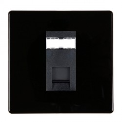 Hamilton Hartland CFX Black 1 gang RJ45 Outlet Cat 5e Unshielded with Black Insert