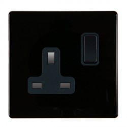 Hamilton Hartland CFX Black 1 gang 13A Switched Socket - Double Pole with Black Insert