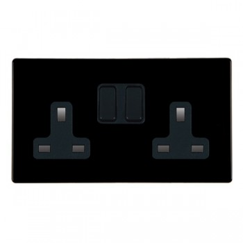 Hamilton Hartland CFX Black 2 gang 13A Switched Socket - Double Pole with Black Insert