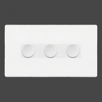 Hamilton Hartland CFX White Push On/Off Dimmer 3 gang Multi-way 250W/VA Trailing Edge with White Insert