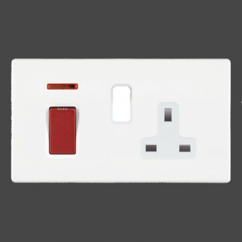 Hamilton Hartland CFX White 1 gang Double Pole 45A Red Rocker + 13A Switched Socket with White Insert