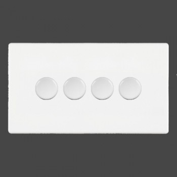 Hamilton Hartland CFX White Push On/Off Dimmer 4 gang Multi-way 250W/VA Trailing Edge with White Insert