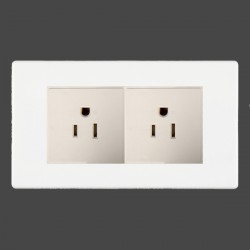 Hamilton Hartland CFX White 2g 15A 127V American Unswitched Socket with White Insert