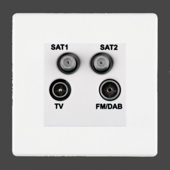 Hamilton Hartland CFX White Digital Screened Non Isolated TV+FM+SAT+SAT (DAB Compatible) with White Insert