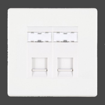 Hamilton Hartland CFX White 2 gang RJ12 Outlet Unshielded with White Insert