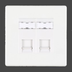 Hamilton Hartland CFX White 2 gang RJ45 Outlet Cat 5e Unshielded with White Insert