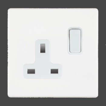 Hamilton Hartland CFX White 1 gang 13A Switched Socket - Double Pole with White Insert