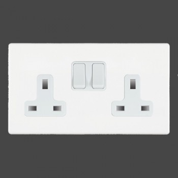 Hamilton Hartland CFX White 2 gang 13A Switched Socket Double Pole with White Insert