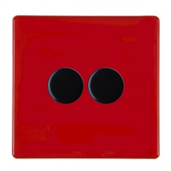 Hamilton Hartland CFX Red Push On/Off Dimmer 2 gang 2 way 400W max 40W min with Black Insert