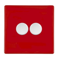 Hamilton Hartland CFX Red Push On/Off Dimmer 2 gang 2 way 400W max 40W min with White Insert
