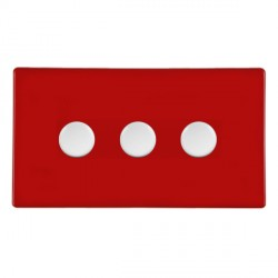 Hamilton Hartland CFX Red Push On/Off Dimmer 3 gang 2 way 400W max 40W min with White Insert