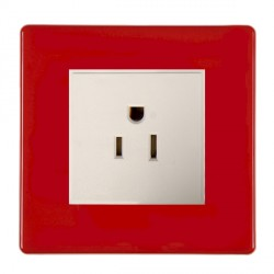 Hamilton Hartland CFX Red 1g 15A 127V American Unswitched Socket with White Insert
