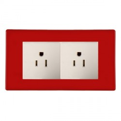Hamilton Hartland CFX Red 2g 15A 127V American Unswitched Socket with White Insert