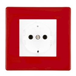 Hamilton Hartland CFX Red 1g 10/16A German Unswitched Socket with White Insert