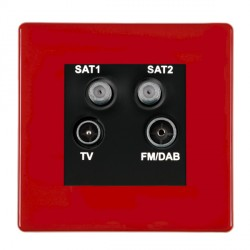 Hamilton Hartland CFX Red Digital Screened Non Isolated TV+FM+SAT+SAT (DAB Compatible) with Black Insert