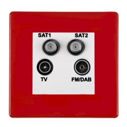 Hamilton Hartland CFX Red Digital Screened Non Isolated TV+FM+SAT+SAT (DAB Compatible) with White Insert