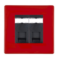 Hamilton Hartland CFX Red 2 gang RJ45 Outlet Cat 5e Unshielded with Black Insert