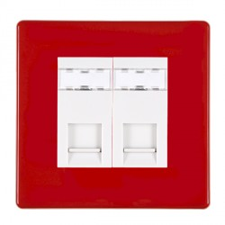 Hamilton Hartland CFX Red 2 gang RJ45 Outlet Cat 5e Unshielded with White Insert