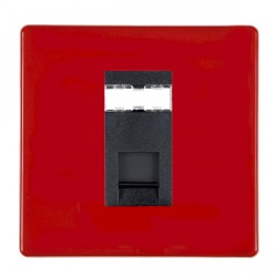 Hamilton Hartland CFX Red 1 gang RJ45 Outlet Cat 5e Unshielded with Black Insert