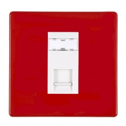 Hamilton Hartland CFX Red 1 gang RJ45 Outlet Cat 5e Unshielded with White Insert