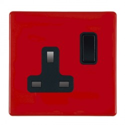 Hamilton Hartland CFX Red 1 gang 13A Switched Socket - Double Pole with Black Insert