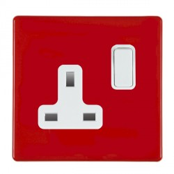 Hamilton Hartland CFX Red 1 gang 13A Switched Socket - Double Pole with White Insert
