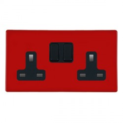 Hamilton Hartland CFX Red 2 gang 13A Switched Socket - Double Pole with Black Insert
